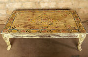 Antique Hand Painted Coffee Table Cabriole Legs Accent Side Table Reclaimed Wood