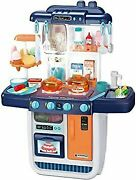 New Blue Cute Stone Playhouse Kitchen Set Real Spray Circulating Water Indoor