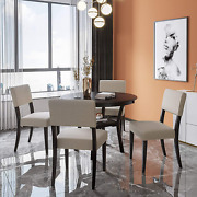 Kupet 5-piece Round Dining Table Set With 4 Upholstered Chairs For Home Kitchen