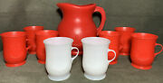 Vintage Red Kool Aid Pitcher + 6 Red 2 White Cups Kool Aid Man