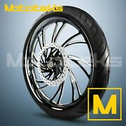 26x3.75 Black Neo Mag Wheel Billet For Harley Softail Dyna Sportster Rotor Tire