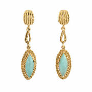 Vintage Turquoise Drop Earrings 18k Yellow Gold Rope Design Dangle Estate Fine
