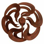 Aged Bronze Look Finish Blooming Kinetic Garden Windmill Stake Stands 75 Tall