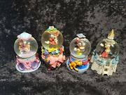 Lot Of Four - Minnie And Mickey Mouse Disney Mini Snow Globes
