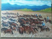 Acrylic Painting Round Up 48x36x1 3/4in By A.kenhartenberger Originalfreeship
