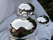🎇stunning Rare Large Antique Set 3 Silver Plate Meat Food Domes Good Order
