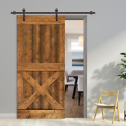 42 In. X 84 In. Distressed Mini X Walnut Stained Solid Pine Wood Interior Slidin