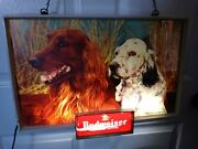 Vintage 1950and039s Budweiser King Of Beers Dogs Lighted Sign 14 X 20 Hunting Retro