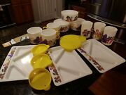 Vintage Mcdonalds Happy Meal Toy 1987 Bowls Cups Trays Lids Lot