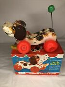 Vintage Fisher Price Little Snoopy Wood Dog Pull Along 693 1965 With Box
