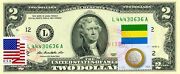 2 Dollars 2013 Stamp Cancel Flag Of Un From Gabon Lucky Money Value 150