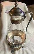 Vintage Silver And Glass Coffee Carafe And Stand