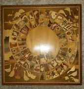 Antique French Game Of The Goose Mon Jeu D'oie Game, Inlaid Wood Marquetry