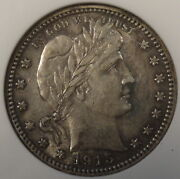 1915-s Barber Quarter 25c Anacs Certified Au53 Old Small Holder