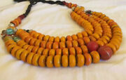 Moroccan Berber Amber Necklace Traditional African Resin Beads 4 Strands Unique