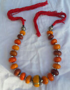 2 Moroccan Berber Amber Necklaces 2 African Tribal Beads Resin Handmade Jewlery