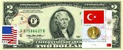 2 Dollars 1995 Stamp Cancel Flag Of Un From Turkey Lucky Money Value 150