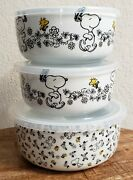 Peanuts Snoopy Spring Flowers Food Storage Containers Ceramic Set Of 3 Brand New