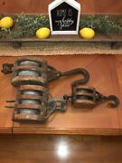 Lot Of 3 Vintage Pulley Double Triple Block And Tackle Wood Ship Boat Nautical