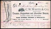 1887 Trusses Supporters Braces Medical C W White Co Boston Letter Head History