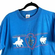 Cheyenne Frontier Days Vintage T Shirt Xl Size 46-48 Blue Wyoming Rodeo Bull Map
