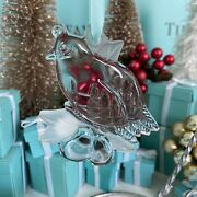 Tiffanyandco Crystal Ornament Partridge In A Pear Tree 1998 Christmas W Pouch Box