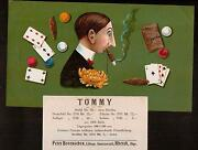 Tommy - Fantastic C1900 Sample Unique Cigar Label - Card Playing Gambling Box