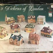 Dickens Of London 10 Porcelain Houses Illuminated Hand Painted Christmas Village