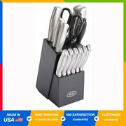 High-carbon Stainless Steel Cutlery Knife Block Set 14-piece Brushed Satin