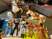 Huge Johnny West 60's /70's Johnny West Figure Lot W/ Horses / Accessories Marx