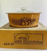 Vintage Pyrex Casserole 4 Qt. Old Orchard 664 Gold With Lid Big Bertha With Box