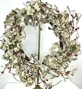 Frosted Holly Berry Hydrangea Sprig Grapevine Winter Wreath 25 Farmhouse Style
