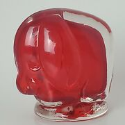 Rare Vintage Lefton Crimson Red Ruby Blown Glass Art Glass Elephant Paper Weight