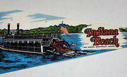 Vintage Indiana Beach Lake Shafer Monticello In Souvenir Pennant Paddleboat Rare