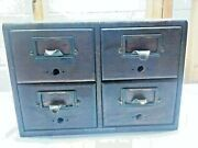 Vintage Yawman And Erbe 4 Drawer Library Card Catalog File Cabinet