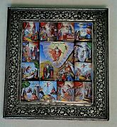 1861y Russian Imperial Orthodox Icon Specially 13 Feasts Enamel Paint 84 Silver
