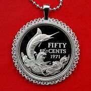 1971 Bahamas 50 Cents .800 Silver Proof Coin Sterling Necklace Blue Marlin Fish