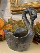 Vintage Art Deco Silver Plated Swan Candy Dish Stamped Italy
