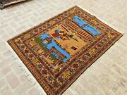 Beautiful Natural Vegetable Dye Afghanistan Map And Currency Wall Hanging Carpet