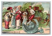 Vintage 1880and039s Victorian Trade Card Standard Sewing Machine Co. Antique Bicycle