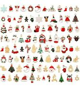 20 Christmas Enamel And Gold Charms Mixed Pendants Findings Grab Bag Set Assorted