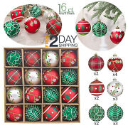 Red Green And White Decorative Christmas Tree Decorations Ornaments 16 Set 80mm