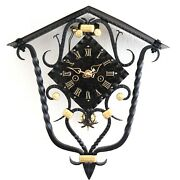 Schatz Vintage Wall Top Clock Rare Double Bell Chime Cast Iron Restored Germany
