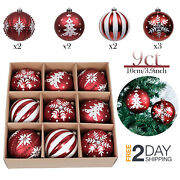 Large Red And White 100mm Decorative Ornaments Christmas Tree Decorations 9 Set