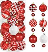 60mm Red And White Balls Ornaments For Christmas Tree Decorations 16 Set Plastic