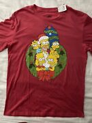 The Simpsons Large Red Family Wreath Christmas Mens T-shirt Short Sleeves Bart