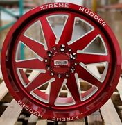 20x10 Xtreme Mudder Xm 348 Wheels Candy Red Offroad Rims 6lug Chevy F150 Tacoma