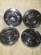Set Lot Of 4 Vintage Chevy Chevrolet Hub Caps With Racing Flag Logos 10.5andrdquo