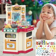 For Kids Toddler Christmas Gifts Mini Kitchen Pretend Playhouse W 48pcs Accessor