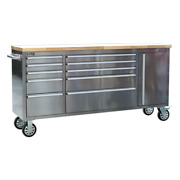 Sealey - Ap7210ss Mobile Stainless Steel Tool Cabinet 10 Drawer And Cupboard